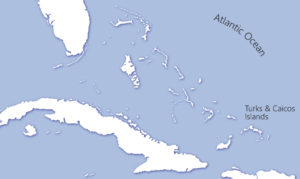 Location map of Caribbean and Turks and Caicos Islands
