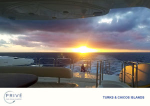 Sunset photographed from the bridge deck of luxury motor yacht