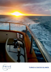 Sunset photographed from the stern deck of luxury motor yacht