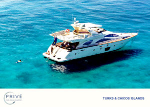 Arial view of luxury motor yacht with crew on the stern transem