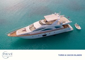 Arial view of Luxury motor yacht anchored in calm clear waters