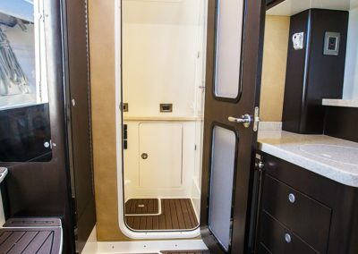 Shower room below deck on Hydrasports 53 motor boat
