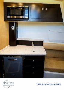 Kitchen below deck on Hydrasports 53 motor boat