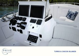 Intrepid custom sport yacht center console, captain's chair and bow seating