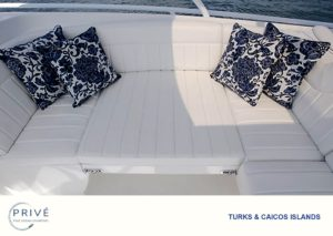 uniquely designed comfortable lounging areas on the Intrepid custom sport yacht