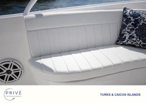 uniquely designed comfortable seating areas on the Intrepid custom sport yacht