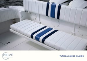 Folding bench seating area on the stern of the Intrepid custom sport yacht