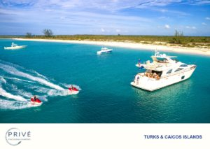 two jet ski riding past Azimut custom motor yacht with staff looking on from the transom.