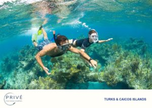 Young couple shallow free diving over Caribbean coral reef holding hands