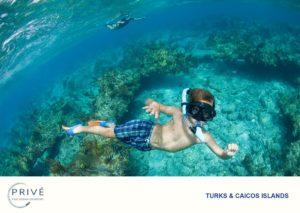 Young boy snorkeler making a shallow free dive just below the water's surface