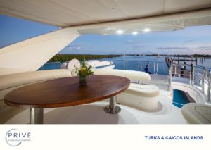 Fly deck of Azimut yacht overlooking a dining table with marina in the background