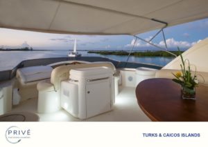 Fly deck of Azimut yacht overlooking captains wheel with view of inlet and ocean beyond