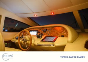 Interior captains command center of Azimut 80 sports yacht