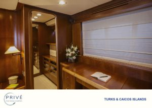 Spacious walk-in closet in master state room of Azimut 80 Sports Yacht