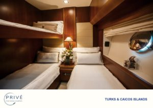 Stateroom with bunk and twin beds