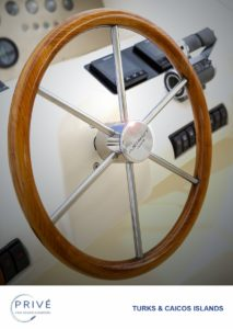 Detail of captain's wheel on the fly deck of Azimut 80 Sports Yacht