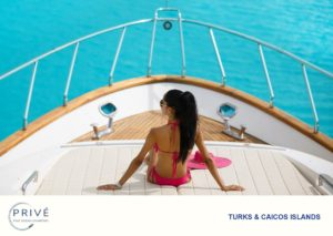 Beautiful woman in pink bikini on the bow of a luxury motor yacht