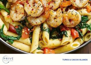 Savory pan of tomato spinach shrimp pasta