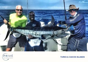 Anglers holding up 7 foot marlin for photo