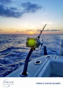 Fishing rod set into boats side holder with sun setting in the ocean horizon