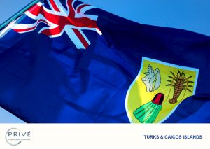 Flag with blue background, union jack and crest with conch shell, lobster and turks head cactus