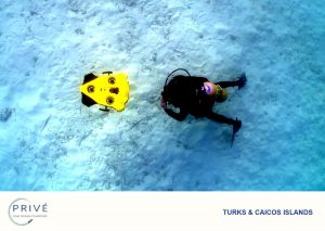 Overhead view of diver and iBubble floating above sandy bottom